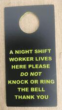 NIGHT SHIFT WORKER DO NOT DISTURB KEEP QUIET SLEEPING DOOR SIGN
