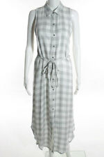BB Dakota Gray White Plaid Sleeveless Button Down Shirt Dress Size Medium New