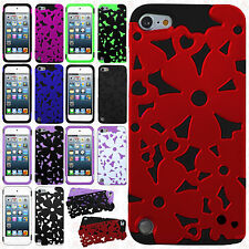 iPod Touch 5th 6th Gen Flower Hard Hybrid Dual Layer Rubber Cover +Screen Guard