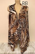 "Susan Graver Sheer Open Cardigan Shirt Plus Size 2x 25"" Animal Print Beige Black"