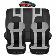 NEW GRAY & BLACK POLYESTER AIRBAG READY SEAT COVERS COMBO 6PC SET FOR CARS 1125