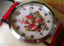 Reloj Quartz/ Papa Noel/Santa Claus/Buen estado/Correa de piel color rojo, verde