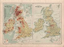 1899 VICTORIAN MAP ~ BRITISH ISLES ~ RAILWAY MAP ~ PHYSICAL