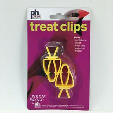 Bird Treat Clips Yellow Plastic Feeder Pet New 2 Pack Prevue Hendryx