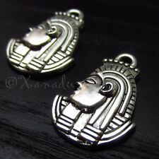 10PCs Egyptian Pharaoh Mask Wholesale Silver Plated Pendant Charms - C0940