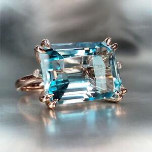 Emerald Cut Aquamarine 925 Silver Rings Wedding Engagement Jewelry Rings Sz 6-10