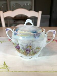 Antique German Lusterware Sugar Bowl Blue Yellow and Purple with Tulips
