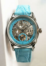 Gorgeous Women's Stainless Steel Automatic Skeleton Watch- Sky Blue. MINT!