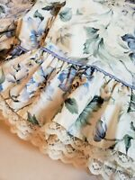 Vtg Springmaid Shabby Blue Floral Queen Set Bed Sheet Set Ruffle Lace