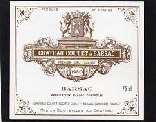 SAUTERNES 1ER GCC VIEILLE ETIQUETTE CHATEAU COUTET 1980 75 CL RARE    §14/03/18§