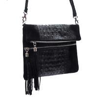 Damen echt Leder Tasche Schultertasche schwarz Cross Body Kroko Clutch Italy
