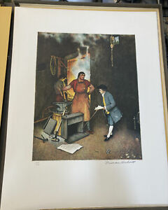NORMAN ROCKWELL Pencil Signed THE VILLAGE SMITHY Numbered LIMITED EDITION S/N