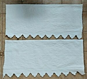 """White Quilted Scalloped Valances Cornice (2) 51x24"""" Shabby Cottage Romantic Chic"""