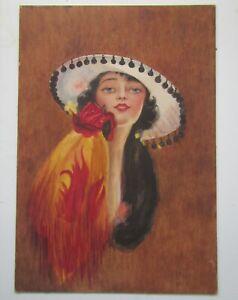 Original Watercolour Painting of 1920s Deco Woman Portrait - unsigned & undated