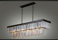 Continental Iron rectangular creative personality restaurant crystal chandelier