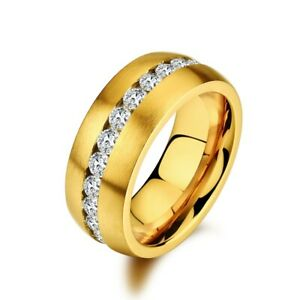 MIAMI WHITE Ring DIANA Edelstahl golden mattiert