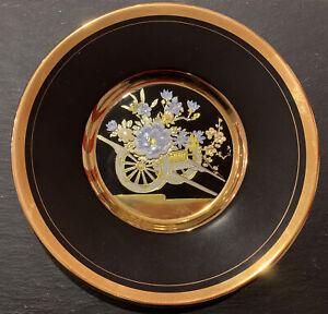 The 'Art of Chokin' 24k Gold Plated small plate with Wheelbarrow Flowers 10cm
