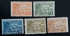 RARE 1925- New Guinea lot of 5 Native Huts stamps Mint