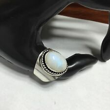 MOONSTONE NATURAL STONE 925 OLD ENGLISH STERLING SILVER RING SZ 9.5