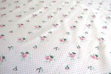 White with Pink Flowers and Pink Polka Dots 100% Cotton BY THE YARD NEW!