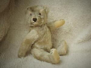 """STEIFF VINTAGE 1950s 9"""" FIRM BODIED JOINTED MOHAIR TEDDY BEAR """"MILO"""" NO BUTTON"""