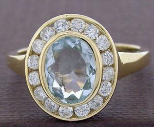 R238 Genuine 9K or 18K Gold Natural Aquamarine & Diamond Halo Ring in yr size