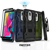 for LG STYLO 5 / 4 / 4 PLUS, Tank Cover Phone Case & Holster +Tempered Glass