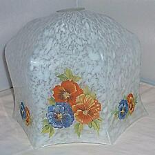 BEAUTIFUL SMALL VINTAGE RETRO PANSY FLOWER GLASS LIGHT SHADE 18.5cm WIDE