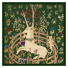 Medieval Unicorn Captivity detail Green Background Counted Cross Stitch Pattern
