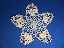 "Vintage Crocheted 9"" Blue & White Swan Doily for Display Crafting or DIY"