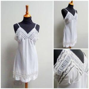 Vintage 1950s Full Slip White Nylon Lace Courtaulds Celon Nightie Negligee 50s