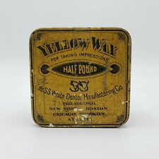 Antique S.S. White Dental Manufacturing Co. Tin Yellow Wax Impressions 1/2 Lb