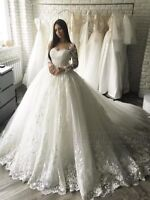 White/Ivory Bridal Ball Gown Wedding Dresses Long Sleeve Lace Appliques Custom