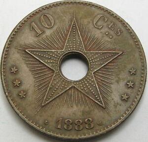 CONGO (Free State) 10 Centimes 1888 - Copper - XF - 2442 ¤