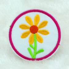 2PCS Sunflower Fabric Embroidered Iron On Patch Motif Applique Embroidery