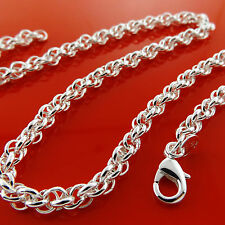 NECKLACE CHAIN REAL 925 STERLING SILVER S/F SOLID ANTIQUE LINK DESIGN FS3A899
