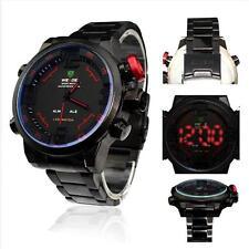 LED Digital Mens Stainless Steel Alarm Sport Quartz Wristwatch ideal Gift black