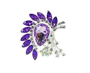 Purple Dazzling Crystal Brooch Pin - Large purple crystal flower pin brooch NEW