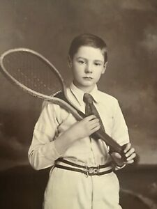 CC  VERY Young LAD Boy DRESSED For TENNIS 1890s Cabinet PHOTO 28/9
