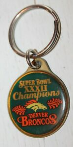 Vintage Super Bowl 32 XXXII Souvenir Keychain - NFL Football Denver Broncos FAN