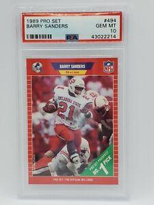 1989 Pro Set NFL Football #494 - BARRY SANDERS - PSA GEM MT 10 - 43022214 Lions