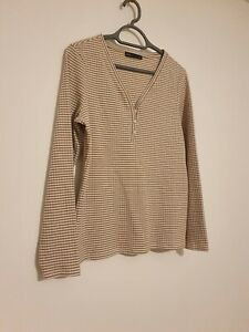 M&S Striped long sleeve top, white & mustard, size 16
