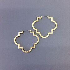 Fashionable Bohemian Gold Color Quatrefoil Clover Design Stylish Hinged Earrings