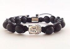 MEN'S MATTE BLACK ONYX Gemstone Beads Silver Buddha Beaded Shamballa Bracelet