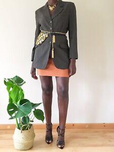 Max Dine Vintage Blazer Brown UK12 Viscose linen Blend blazer dress italian