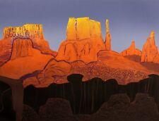 """John Ross """"Peak"""" Hand Signed Collagraph Artwork western art print Make Offer!"""