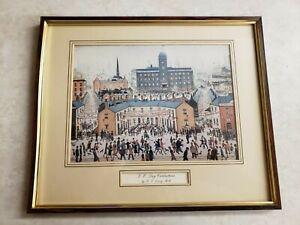 J S Lowry RA Graphic Arts (V E Day Celebrations) Framed Art Vintage