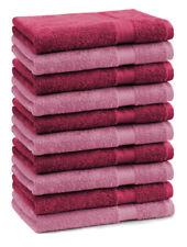 Lot de 10 serviettes débarbouillettes Premium couleur: vieux rose & rouge foncé
