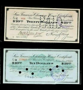 1907 San Francisco Clearing House Certificate $10, $20 Lot of 2 99c NO RESERVE