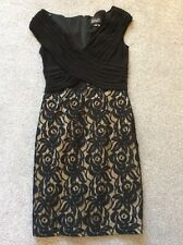 Adrianna Papell Size 8 Black Gold lace Pleated Bodice DRESS Special Occasion Fab